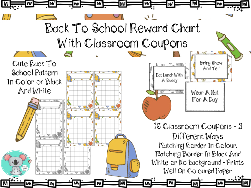 Reward Chart With Classroom Coupons - School Themed