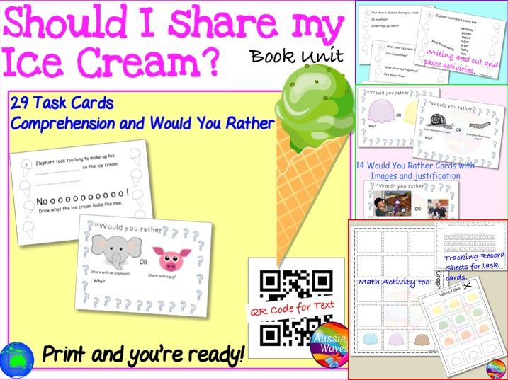 "Literacy Groups Activities Literature Unit based on ""Should I Share My Ice Cream?"" by Mo Willems"