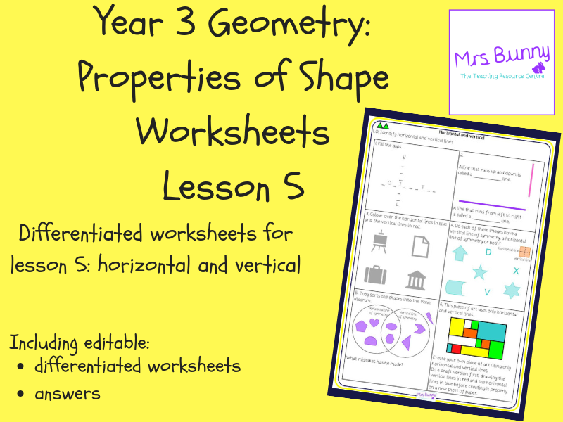 5. Geometry: horizontal and vertical worksheets (Y3)