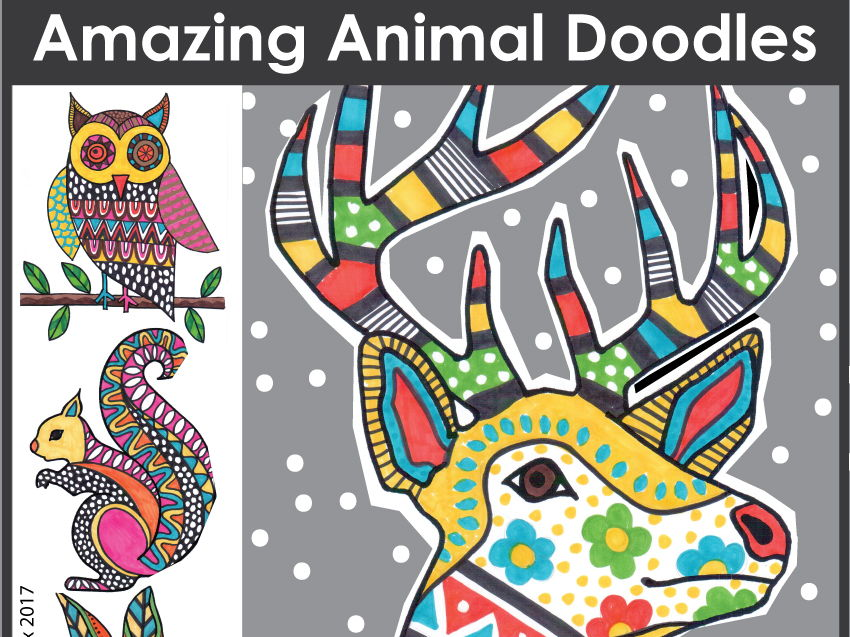 Winter coloring pages - animal doodles, art and writing