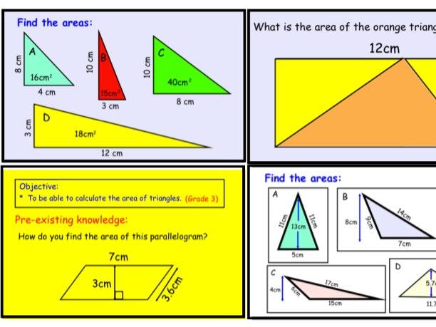 Area of Rectangles, Triangles and Parallelograms (notebook)