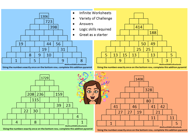 KS3 Large Addition Pyramid Generator with Inifnite Number of Questions, Varying Difficulty, Answers