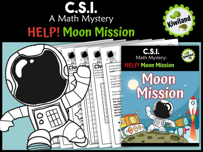 CSI Math Mystery - Help! Moon Mission - Space
