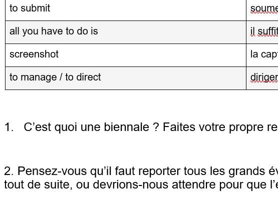 French A level Worksheet: Culture, Dance