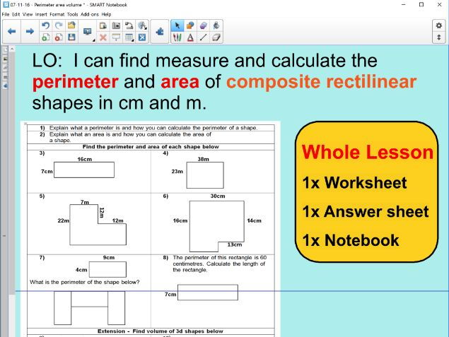 Whole Lesson - perimeter and area  - composite rectilinear shapes - applying problems - KS2 Year 5 6