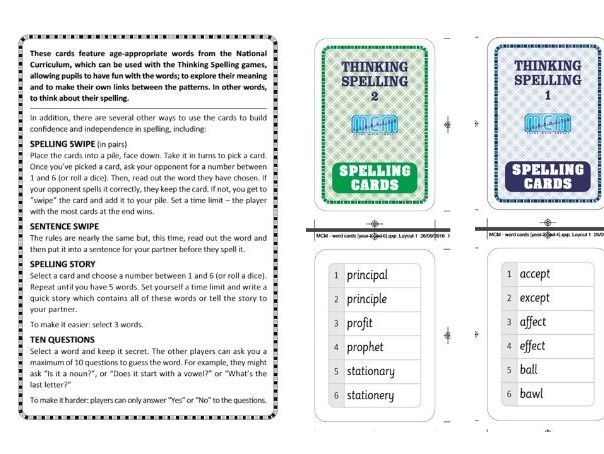 Key stages 2 and 3 Spelling cards and activities (Year 5 upwards)