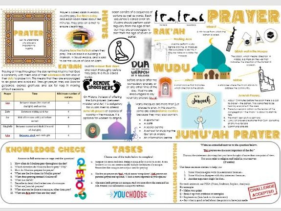 Islam: How and Why do Muslims Pray (Salah) Task Mat