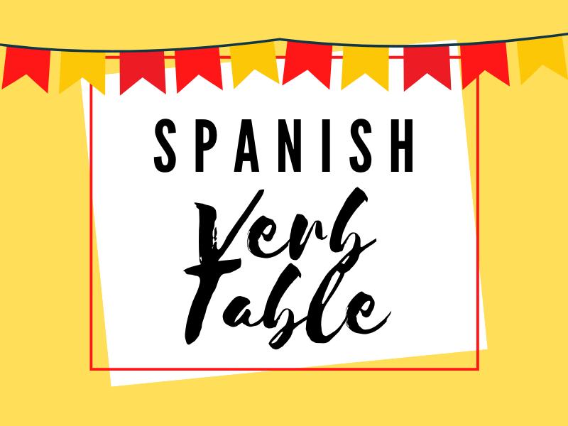 Spanish verb table