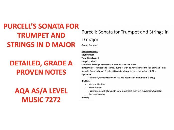 PURCELL'S SONATA FOR TRUMPET AND STRINGS IN D MAJOR AS LEVEL NOTES