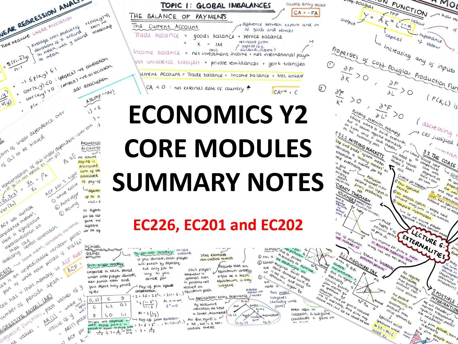 Y2 Uni Economics CORE Notes (EC226, EC201, EC202)