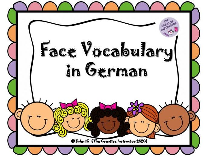 Face Vocabulary in German- Flash Cards
