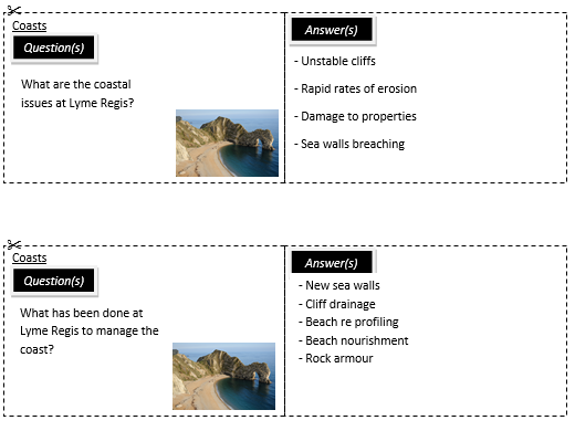 New AQA Coasts Revision Cards