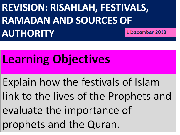 Y11 GCSE Revision:  Islam - Risalah, Festivals, Ramadan and Sources of Authority