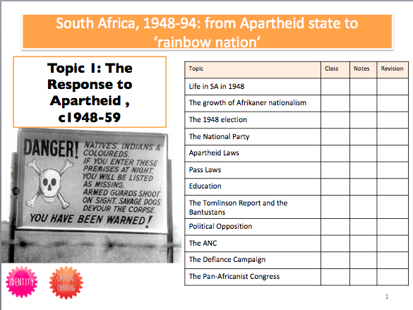 South Africa Booklet 1: The Response to Apartheid, 1948-59