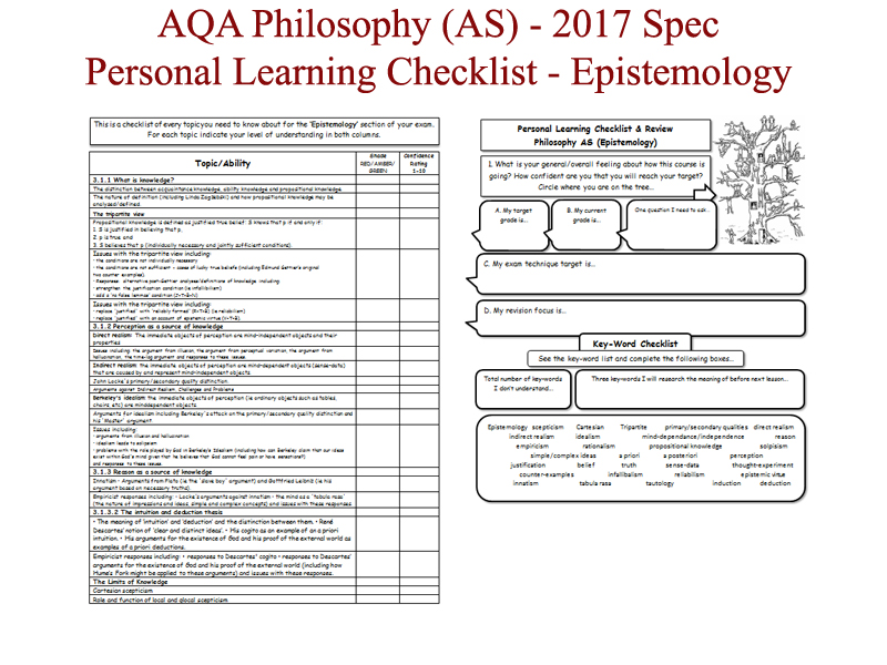 Epistemology - AS-level AQA Philosophy (2017 spec onwards) PERSONAL LEARNING CHECKLIST Worksheet