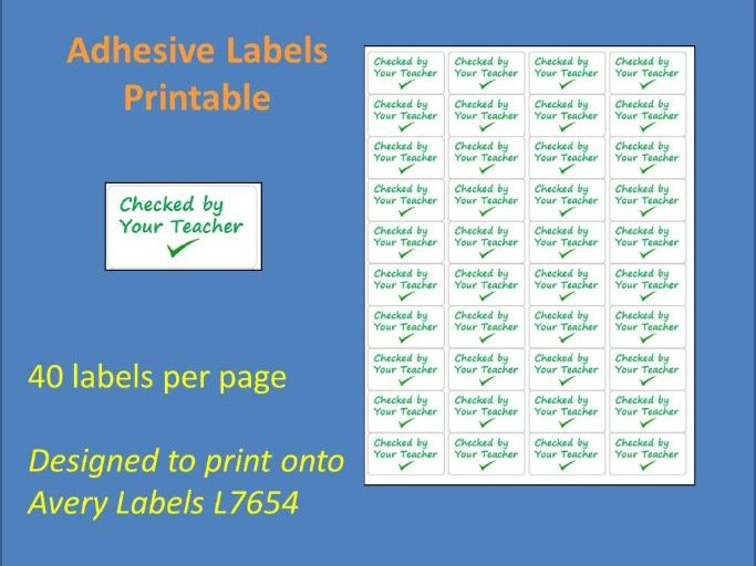 Checked by Your Teacher Adhesive Label Printable Time Saving Marking Sticky Label L7654