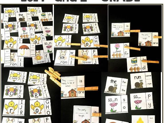 Spring Literacy and Grammar Clipping Cards for ESL