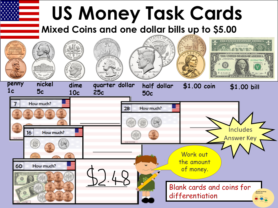 US Money Task Cards - Adding up Mixed Coins to value of $5 - Recording Sheet, Blank Cards and Coins