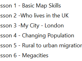 Our World 6 Lessons OCR Entry level geography