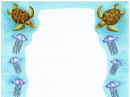 Ocean Page Borders - world oceans day, turtles, jellyfish, plastic bag