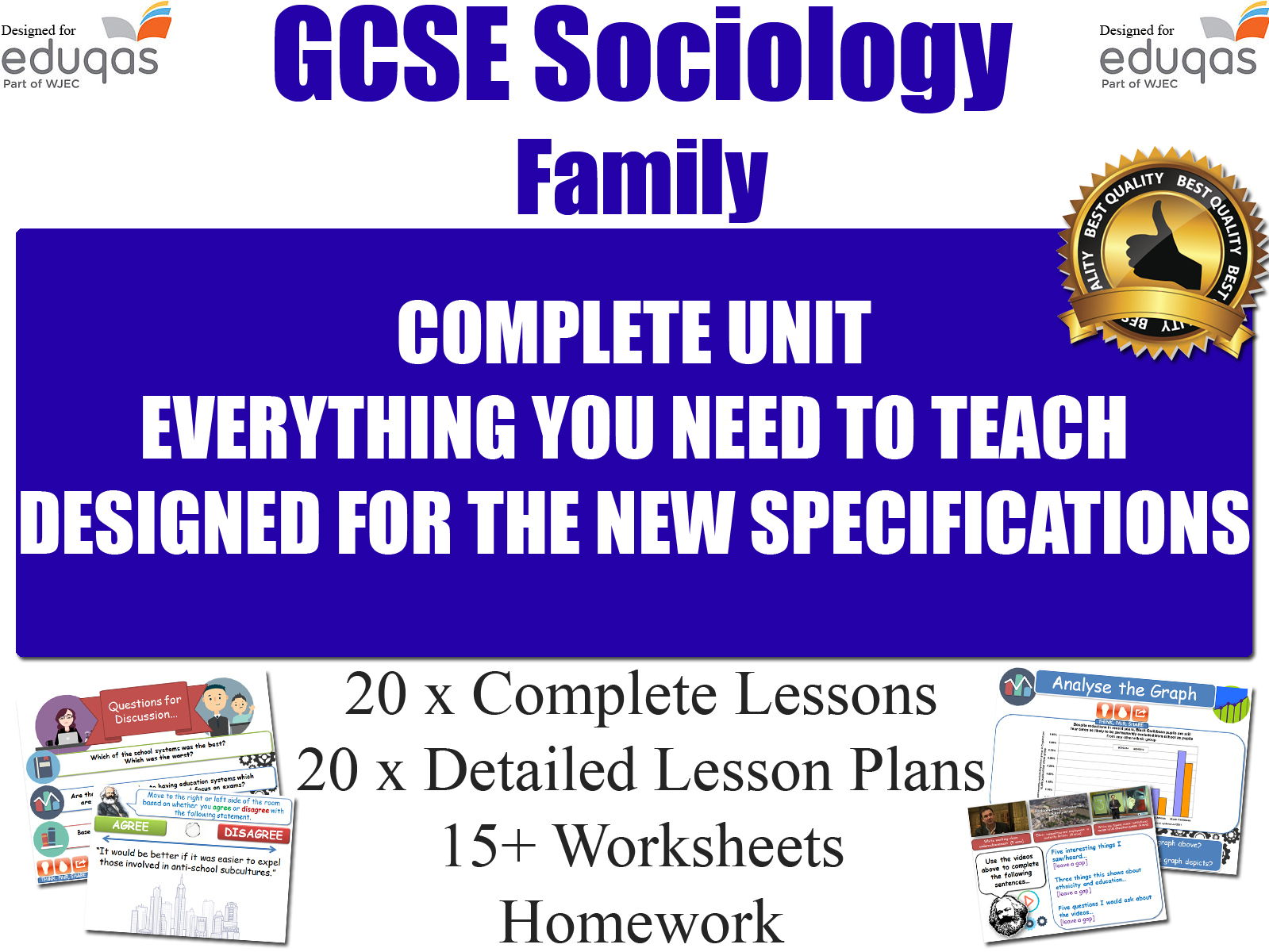 Sociology of the Family (20 Lessons) WJEC / EDUQAS [ GCSE Sociology ] Families