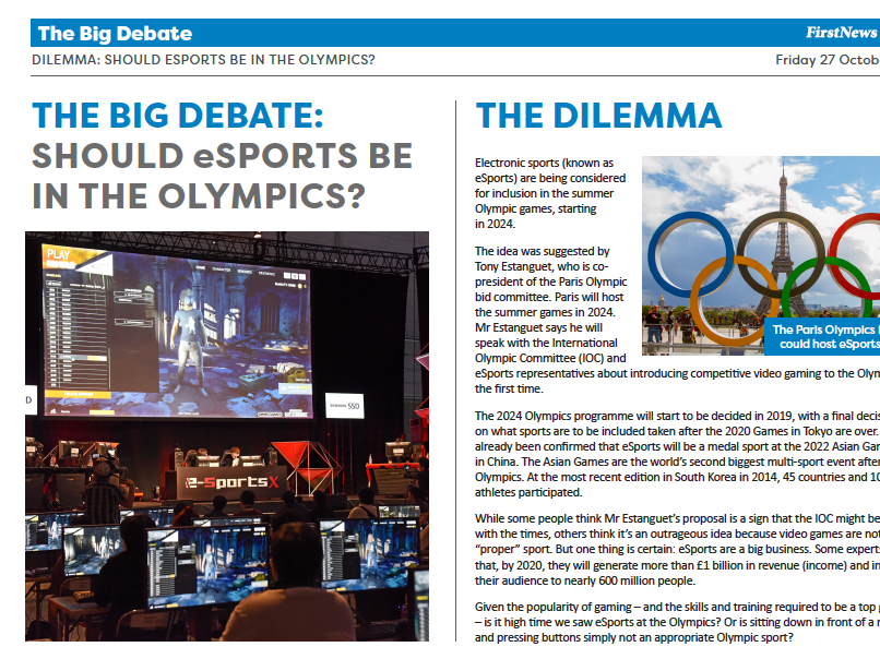 KS3 News Debate: Should eSports be in the Olympics?
