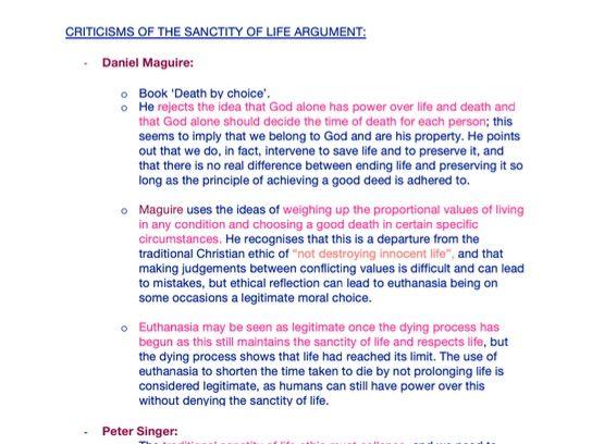 Euthanasia notes - OCR Religious Studies