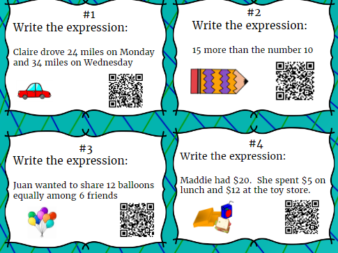 20 Numerical Expression Task Cards Especially for 5th Year with QR Codes for answers
