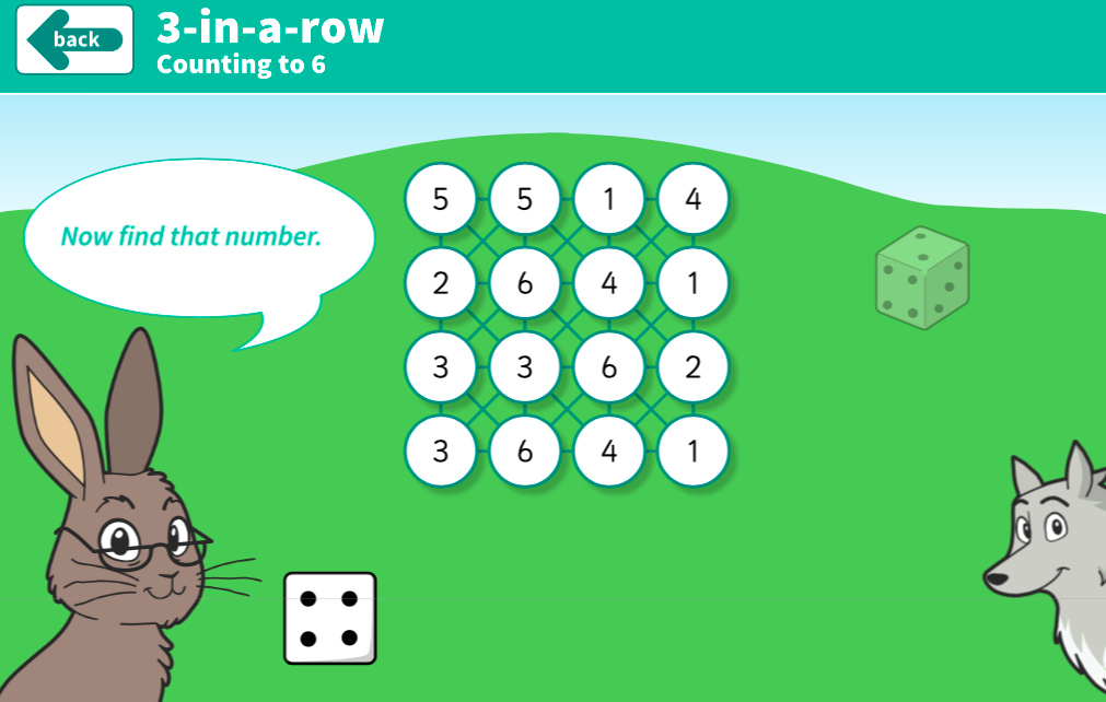 Counting Forwards and Backwards - 3-in-a-row Dice Interactive Game - KS1 Number