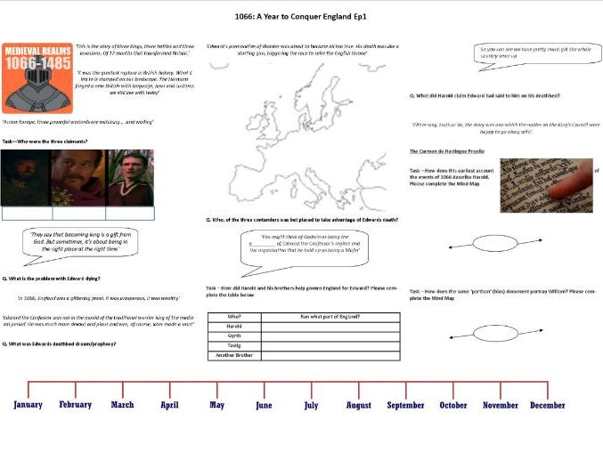 1066: A Year to Conquer England Ep1 - Worksheet to support the BBC Documentary with Dan Snow