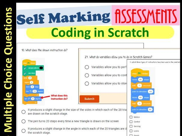 Scratch Coding Assessment | Self Marking (Key Stage 3)