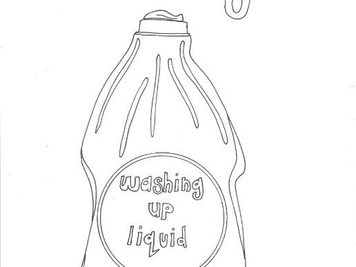 Washing Up Liquid Bottle: Colouring Page (Daily Routine, Keeping Healthy)