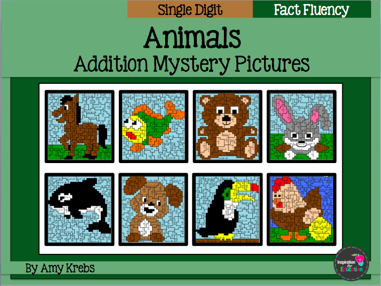 Addition Mystery Pictures - Animal