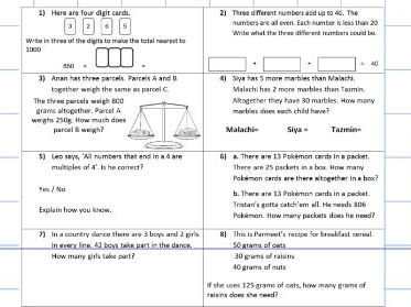 Four Operations multiplication division subtraction addition - sats - notebook - WORKSHEET ONLY