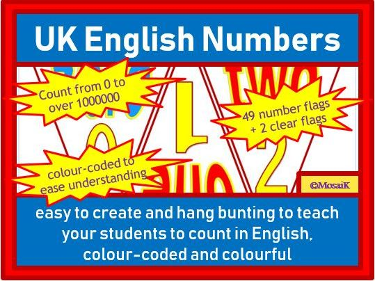 English (UK), EAL, ESL Bunting: Numbers zero to over 1 million