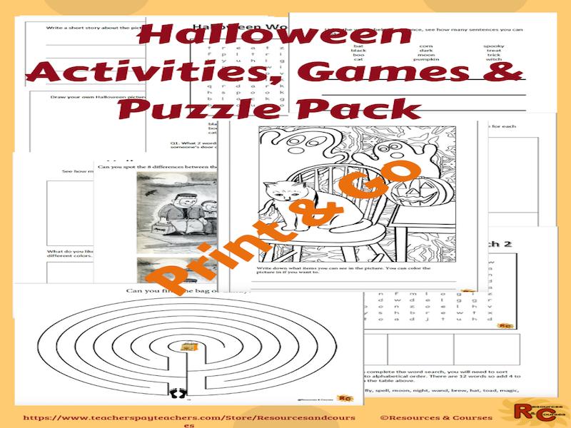 Halloween Activity Pack Grade 1-3 Print & Go
