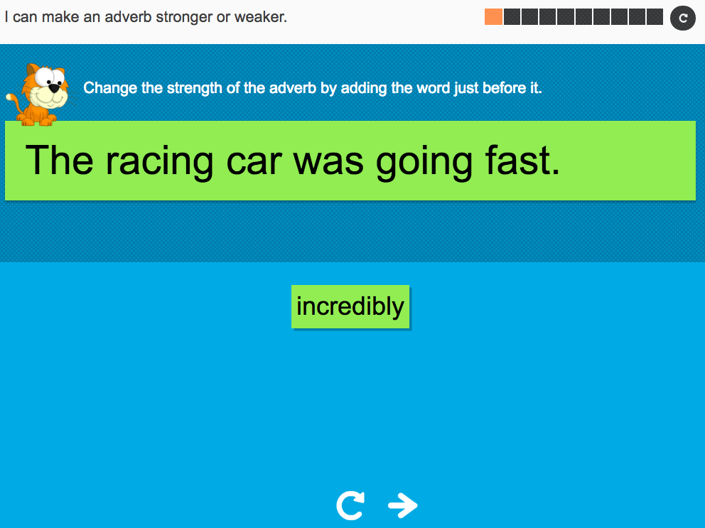 I can make an adverb stronger or weaker - Interactive Activity - Year 3 Spag