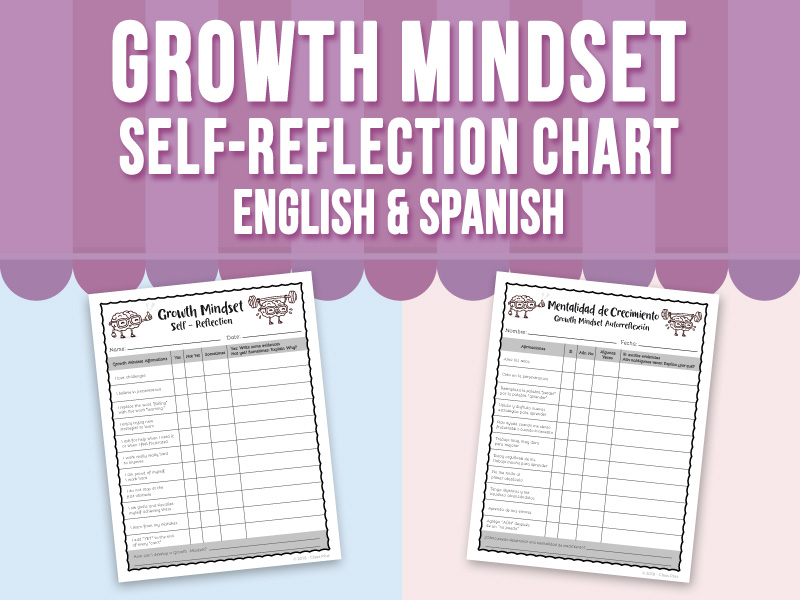 Growth Mindset Self Reflection Chart - English & Spanish