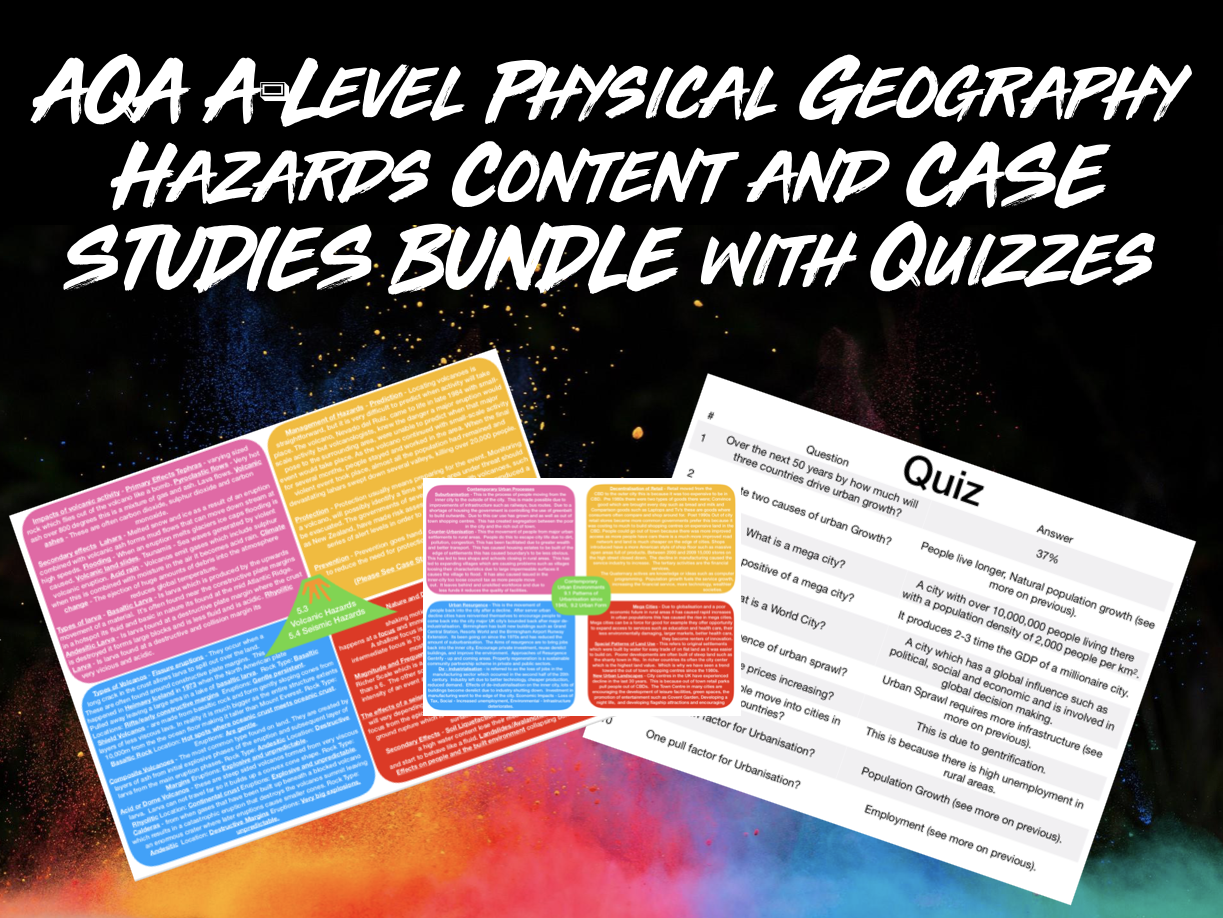 The ULTIMATE AQA A-Level Geography Hazards Content and Case Studies Bundle With Quizzes