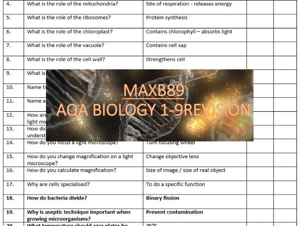 FREE!!! GCSE 9-1 Revision Biology AQA Unit 1 Retrieval Practice Quiz