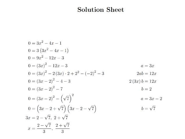 Quadratic Equation Questions By Completing the Square Worksheet