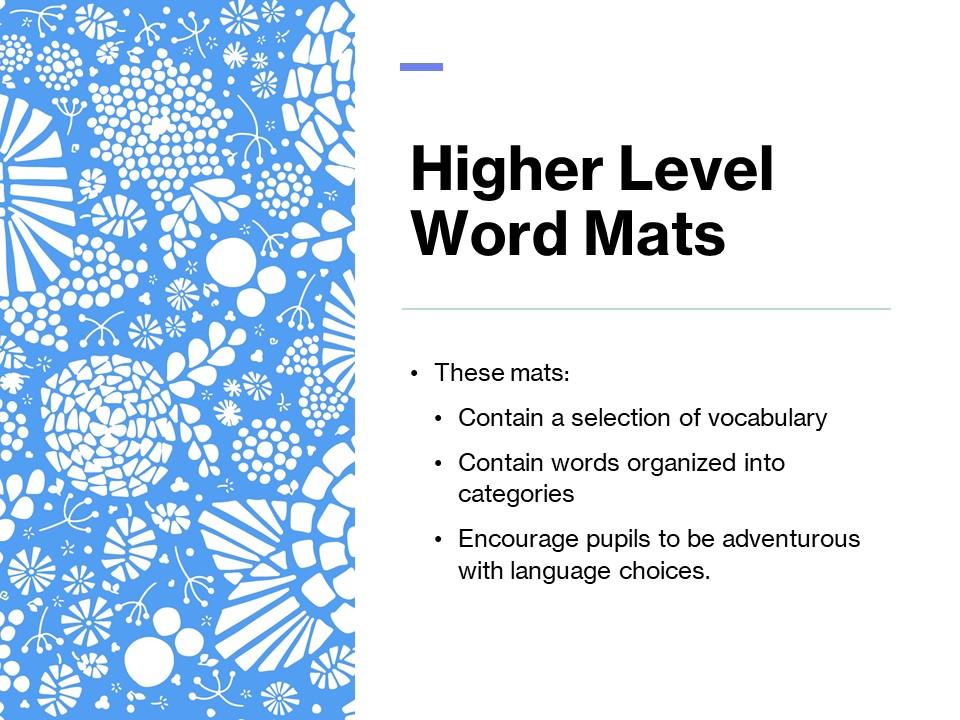 Higher Level Vocabulary Word Mats