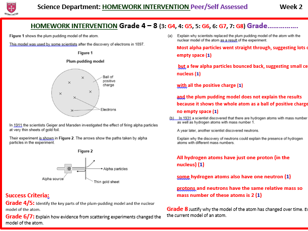 CHEMISTRY KS4 Homeworks/Intervention GCSE Challenge Questions with and without MODEL ANSWERS