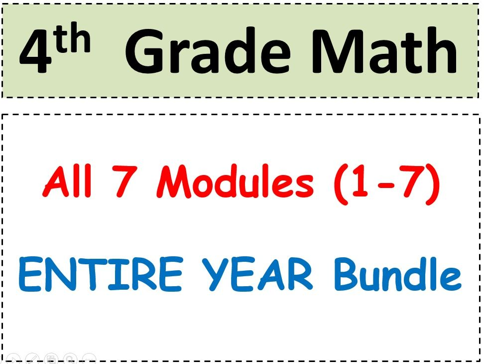 Grade 4 Math-WHOLE YEAR! Modules 1-7 Student Pgs-HOT q's-Reviews-Enhanced Bundle