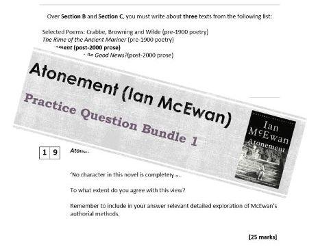 AQA (A-Level) English Literature B Practice Question Bundle (Section B - Atonement)