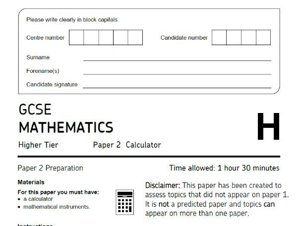 "AQA GCSE Maths Paper 2 Higher ""Predicted"" Paper 2019"