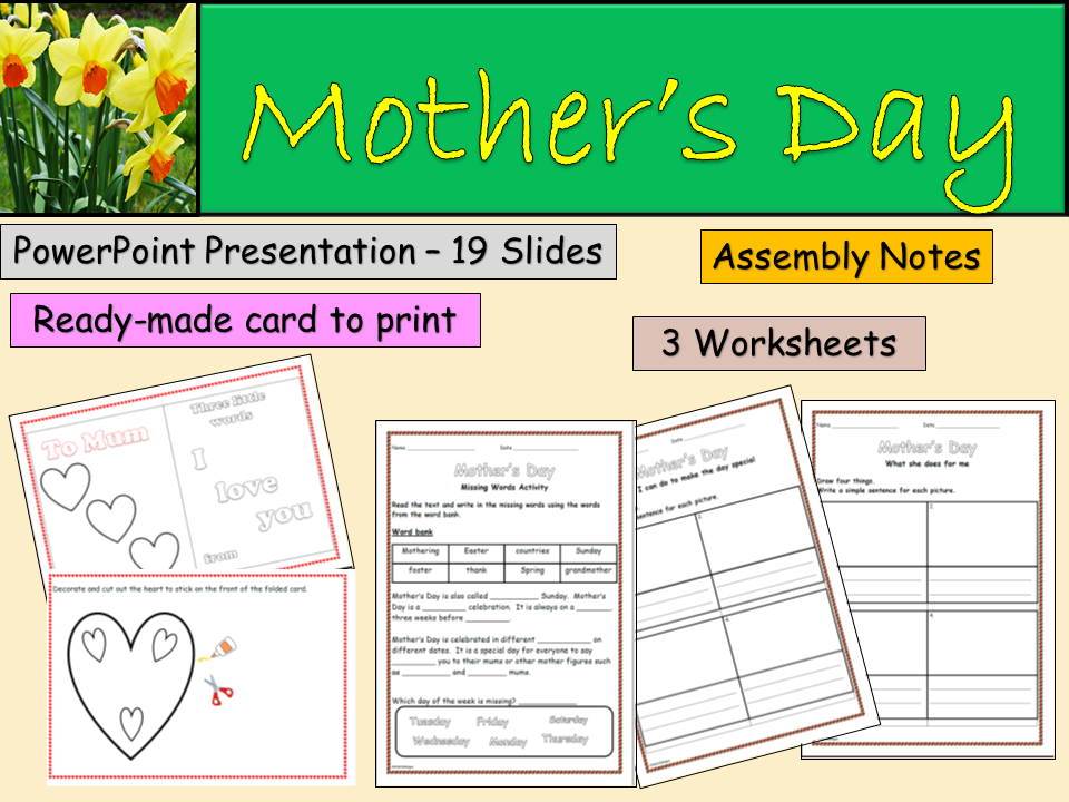Mother's Day/Mothering Sunday Assembly/ Lesson Presentation, 3 Worksheets, Card Activity Notes