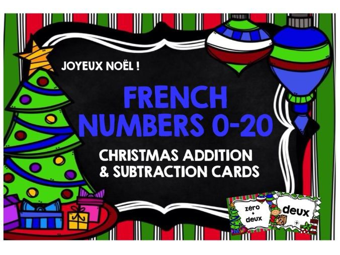 CHRISTMAS: PRIMARY FRENCH CHRISTMAS NUMBERS 0-20 CARDS