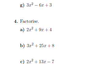Quadratic factorisation worksheet (with solutions)