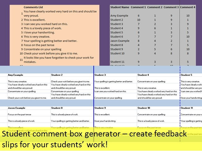 Student Feedback slip generator/report writing tool